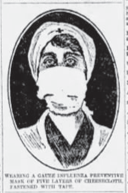 Rendering of a woman wearing a mask during the Pandemic of 1918.